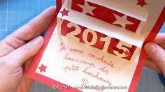 carte de voeux 2015 à imprimer et fabriquer Kirigami, Nouvel An, Envelope, Decoupage, Projects To Try, Card Making, Paper, Day, Cards