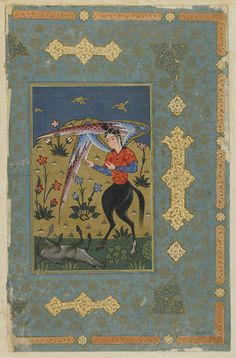 Folio from an unidentified text; An angel (?)  TYPE Detached manuscript folio HISTORICAL PERIOD(S) Safavid period or Ottoman period, circa 1580-1590 MEDIUM Opaque watercolor, ink and gold on paper DIMENSION(S) 30.0 x 19.9 cm GEOGRAPHY Iran or Turkey