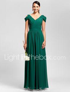 55ca0c52170 Sheath   Column V Neck Floor Length Chiffon Bridesmaid Dress with Draping    Sash   Ribbon   Criss Cross by LAN TING BRIDE®
