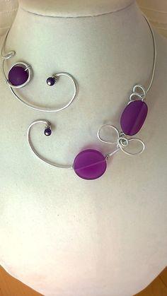 FREE EARRINGS  Aluminium wire necklace  Open par LesBijouxLibellule