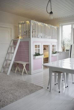 Now this would be a dream bedroom/playroom for a special little one. Via Fröken Knopp : Lekrum... #kidsindoorplayhouse
