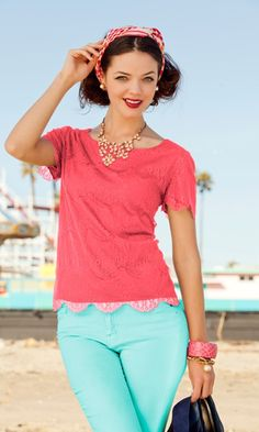 Shabby Apple Salt Water Taffy Blouse. I like this coral and seafoam color combo.