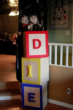 Blocks. These would be perfect with the Spirit Halloween Evil Rag Doll.