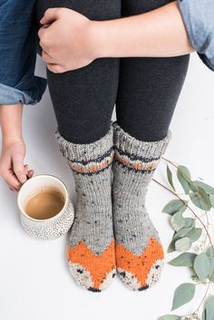 Do your best fox trot as you slip and slide along your hardwood floors in these cozy fox socks. Knit in a DK weight yarn, they are a quick and extra-cute project.