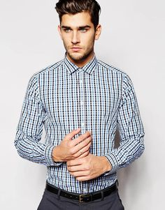 ASOS Shirt In Long Sleeve With Gingham Check