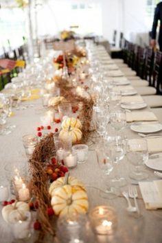 Tischdeko herbst ideen  Herbst-Hochzeit, Tischdekoration in Braun und Orange mit ...
