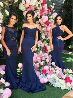 Trumpet/Mermaid Long Blue Lace Wedding Party Dresses Bridesmaid Dresses 99601051