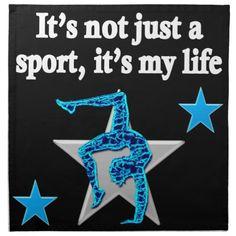 BRIGHT BLUE INSPIRATIONAL GYMNASTICS DESIGN NAPKIN http://www.zazzle.com/mysportsstar/gifts?cg=196751399353624165&rf=238246180177746410 #Gymnastics #Gymnast #WomensGymnastics #Gymnastgift