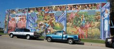 Love Story on the Southwest Community Center on Welch Avenue is a narrative about a cowboy who falls in love with a gymnast, according to artist Michael William Kirby. Michael Williams, Fort Worth, Murals, Love Story, Dallas, Texas, Community, Artist, Painting