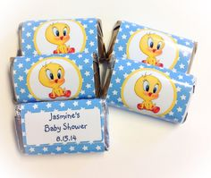 Baby Looney Tunes 50 Baby Tweety Bird Personalized Mini Candy Bar Wrappers Party Favors