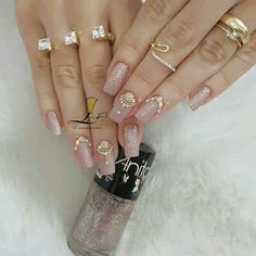 Decoración en nut Gem Nails, Diva Nails, Nail Manicure, Perfect Nails, Gorgeous Nails, Pretty Nails, Romantic Nails, Elegant Nails, Indian Nail Designs