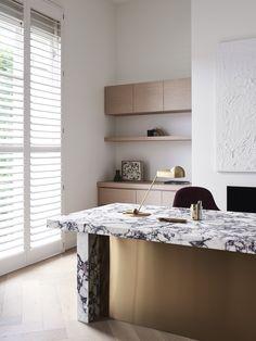 Toorak Home by Larritt-Evans Office Interior Design, Office Interiors, Steel Frame Doors, Marble Desk, Blue Drapes, Off White Walls, Formal Living Rooms, Living Spaces, Midnight Blue