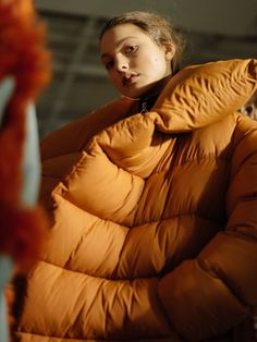 Puffy orange quilted jacket at Marques'Almeida AW16