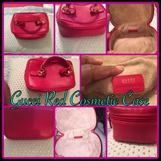 Gucci Red Cosmetic Case Authentic Gucci Red vanity cosmetic bag. Top secured with double zipper. Inside has brown suede lining to keep things organized. Can be carried in hand and look so cute.  Made in: Italy  Serial Number: 032 1705 0141  Size: 6.5 x 6.5x 3.3 inches  Color: Red  Dust bag:   Not included Gucci Accessories
