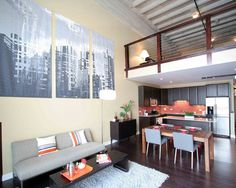 Open Plan Loft Condo Design Living Room Design, Pictures, Remodel, Decor and Ideas