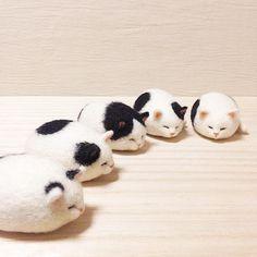 Amazing miniatures of kittens from Japan 🐱 . Needle Felted Cat, Needle Felted Animals, Felt Animals, Cute Baby Animals, Chat Crochet, Needle Felting Tutorials, Felt Cat, Felt Brooch, Cat Crafts