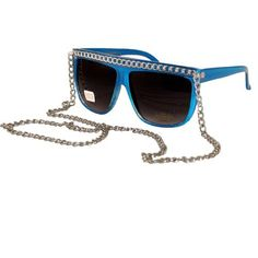 4b9df39fa0d7 Retro Glossy Flat Top Wayfarer Sunglasses - Blue with Silver Chain .  5.99.  Save 76