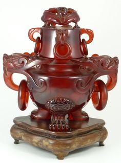 Chinese red amber figural Foo Dog urn