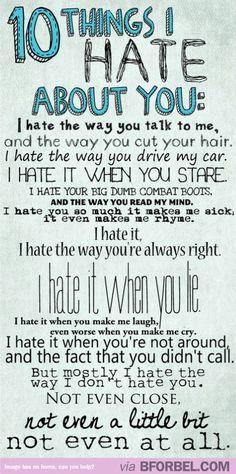 10 coisas que eu odeio em você *-*