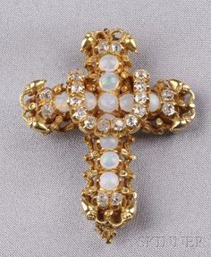 Antique Opal and Diamond Cross Pendant