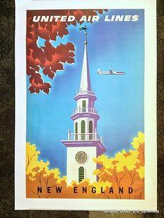 United Airlines NEW ENGLAND Original Vintage Travel Airline Poster Binder LINEN
