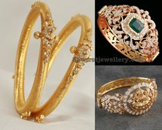 Diamond Broad Kada and Bracelet - Jewellery Designs