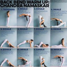 Chandra Namaskar (translated to moon salutation) or 12 step salutation This warm up is a back bendy version of the classical 12 step salutation which doesn't involve bringing the arms up in low lunge. I teach this warm up for every back bend themed class, it is also what I practice in prep for back bending photos. I personally find it more effective than Sun A/B in prep for back bending Note ⭐️Reach back only to the point where you can still breathe feel free to take more than one breath in…