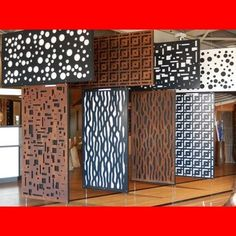Not these exact styles, but laser cut metal inserts? 3d Wall Panels, Metal Panels, Jaali Design, Outdoor Screens, Privacy Screens, Escalier Design, Balcony Railing Design, Partition Design, Decorative Screens