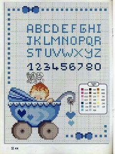 Baby Cross Stitch Patterns, Cross Stitch For Kids, Cute Cross Stitch, Cross Stitch Samplers, Cross Stitching, Cross Stitch Embroidery, Cross Stitch Letters, Barn, Baby Boy