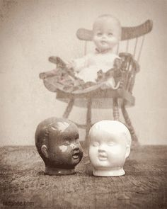 Creepy Doll Heads | Creepy Doll Head Salt and Pepper Shakers with Creepy Doll in Rocking ...