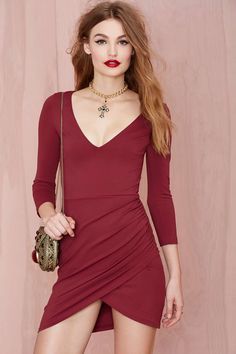 Nasty Gal Deep Down Dress - Burgundy