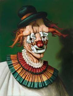 Fantastic Realism Painting - Le Clown Aux Nues by Andre Martins de Barros Illusion Kunst, Illusion Art, Bufoni, Giuseppe Arcimboldo, Art Visionnaire, Art Magique, Canvas Paintings For Sale, Illusion Paintings, Le Clown