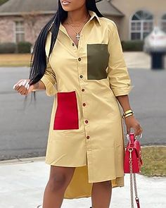 Colorblock Irregular Hem Shirt Dress Women's Online Shopping Offering Huge Discounts on Dresses, Lingerie , Jumpsuits , Swimwear, Tops and More. Short African Dresses, Latest African Fashion Dresses, African Print Fashion, African Shirt Dress, Trend Fashion, Style Fashion, Steampunk Fashion, Gothic Fashion, Fashion Rings