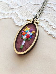 Rustic Wood Pendant Embroidered Necklace Mini by PlaidLoveThreads