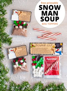 These free Snowman Soup bag toppers are perfect for making easy Christmas class gifts and treats! Simply print and attach to bags of treats to create fun Christmas gifts. Blank versions without text also included so you can add your message! Christmas Class Treats, Student Christmas Gifts, Christmas Treat Bags, Preschool Christmas, Christmas Activities, Best Christmas Gifts, Christmas Fun, Christmas Presents, Xmas Gifts For Kids