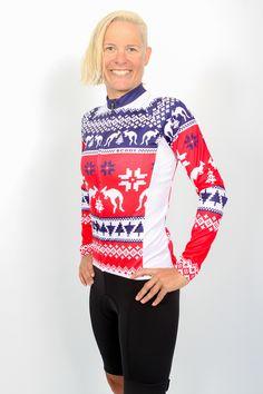 Sarah Crowley wearing a Ugly Xmas Cycle Jersey 2912ad3fe