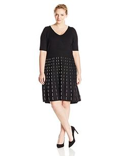 Taylor Dresses Womens PlusSize V Neck Short Sleeve Fit and Flare Sweater Dress BlackIvory 1X ** More info could be found at the image url.
