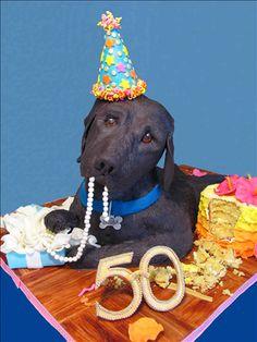 Black Labrador 50th Birthday Cake