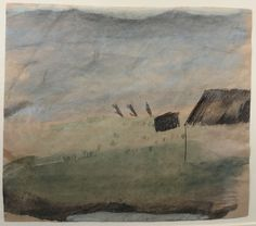 Mary Newcomb The Flooding in of the Light, Feb, 1984 Titled and dated verso Watercolour and pencil on paper 11 x 12 inches / 28 x 31 cm London Tumblr, Fine Art Gallery, Natural Wonders, Art World, Landscape Paintings, Mary, Watercolor, Sculpture, Lighting