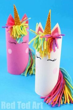 art Toilet Paper Roll Unicorn for Preschoolers - Red Ted Art - Make crafting with kids easy & fun One Toilet Paper Roll. One Unicorn Theme - 3 DIFFERENT Toilet Paper Roll Unicorn Crafts! From Toilet Paper Roll Unicorn for Preschoolers to Unicorn Puppet Recycled Crafts Kids, Paper Crafts For Kids, Projects For Kids, Paper Crafting, Fun Crafts, Arts And Crafts, Easter Crafts, Decor Crafts, Cool Crafts For Kids