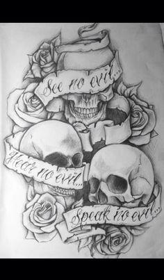 "Tattoo skulls. ""See no evil, Hear no evil, Speak no evil"""