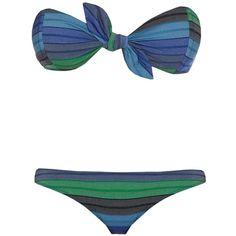 Lisa Marie Fernandez Poppy striped bandeau bikini (620 BRL) ❤ liked on Polyvore featuring swimwear, bikinis, retro swimwear, retro style swimwear, low rise bikini, bandeau top and retro swim wear