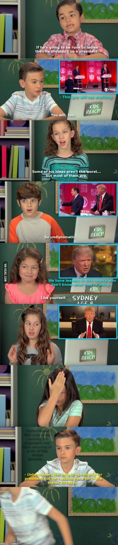 Kids React to Drumpf<<< at least they have some common sense! Funny Cute, The Funny, Hilarious, Babe, Lol, Faith In Humanity, Humor, Just For Laughs, Funny Posts