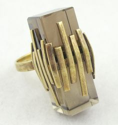 Smoky Quartz Modernist Ring - Garden Party Collection Vintage Jewelry