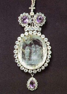 Panagia. Mid-19th century. Russia. Silver, rock crystal, amethysts. Donated by honorary citizen of Kansk G.F. Masherov in 1850.