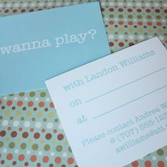 Printable Play Date Cards by printyourparty on Etsy