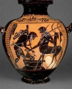 Hydrie (calpis) à figures noires : Héraclès chez Pholos. Héraclès lui demande d'ouvrir la jarre de vin que Dionysos avait confiée aux centaures. Vers 520-510 av J.-C. Paris, musée du Louvre