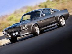 Ford Mustang Eleanor Super Snake. Gunmetal grey with black racing stripes.