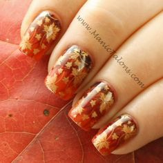 Thanksgiving nails with Needle Drag Marbling