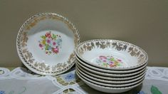 8 Vintage- Stetson Berry/Dessert bowls 22kt Gold rim and Floral Center by MercedesAtticShop on Etsy